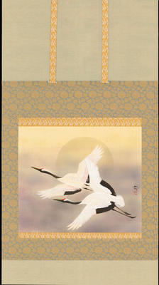 Asai Kinman - Two Cranes Flying Through Auspicious Clouds