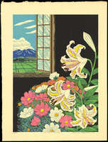 Hayashi Waichi - Golden-Rayed Lily and Cosmos