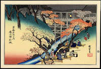 Ando Hiroshige- Red Maple Leaves at Tsuten Bridge