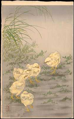 Shoson, Ohara (1877-1945)- Koson - Chicks and Worms