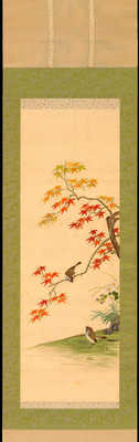 Sparrow and Maple in Autumn (Embroidery)