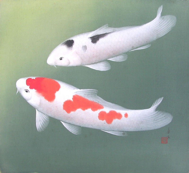 Unknown two koi silk fabric chinese and japanese for Koi prints for sale