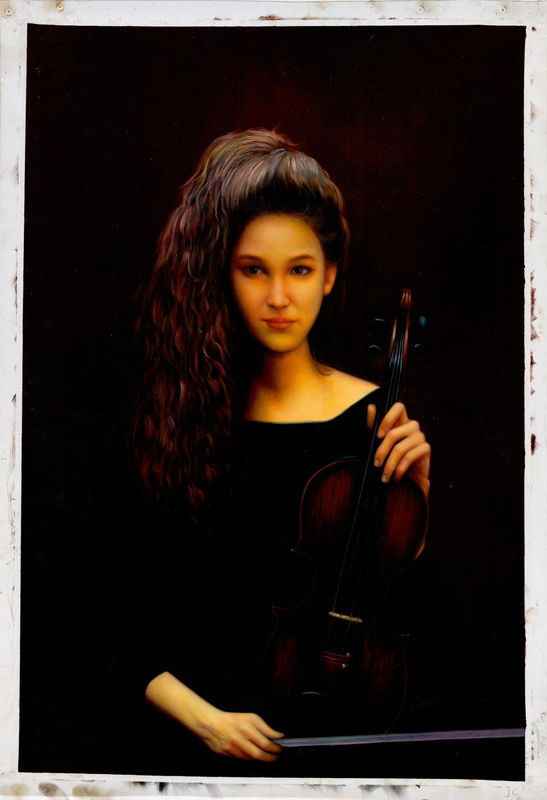 """Zhangbo (Chinese oil painter) """"Female Violin Player"""" - Oil ..."""