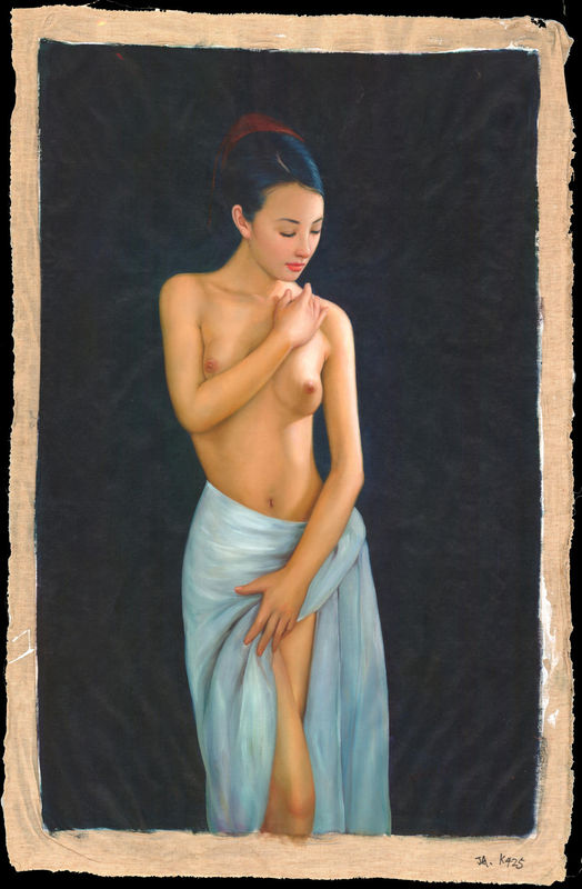 Zhangbo (Chinese oil painter) - Nude Virgin with Sun